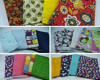 Kits de Tecidos para Patchwork - 4 Estampas Variadas (Observe as Medidas na Descrição)