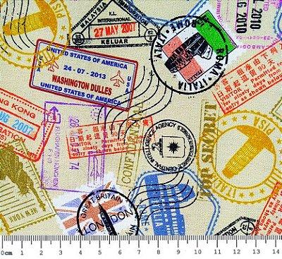 Tecido Digital - Selos de Viagem - Fundo Bege- Preço de 50cm x 150cm