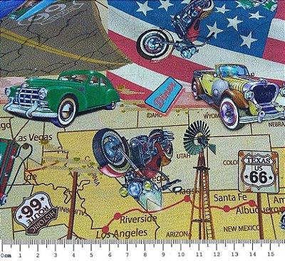 Tecido Digital Carros, Motos Antigas Route 66 (Fundo Bege) - Preço de 50cm x 150cm