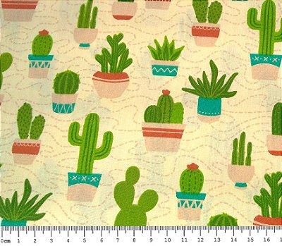 Tecido Tricoline Estampado Cactus - Coleção Cactus (Fundo Creme) - 50 cm x 150 cm