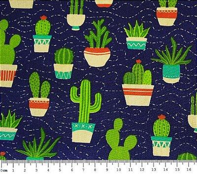 Tecido Tricoline Estampado Cactus - Coleção Cactus (Fundo Azul) - 50 cm x 150 cm