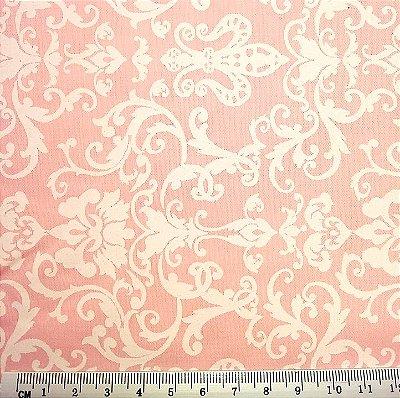 Tecido Tricoline  Arabesco (Fundo Salmão) - 50 cm x 150 cm