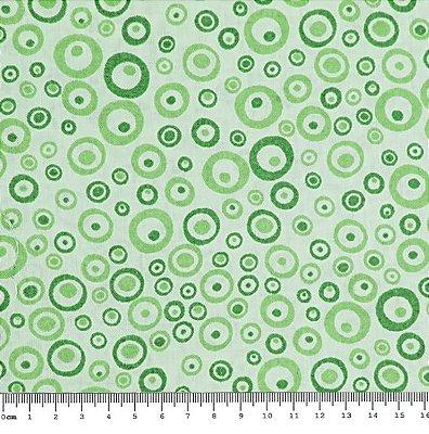 Tecido Tricoline  Bolinhas  (Fundo Verde) - 50 cm x 150 cm