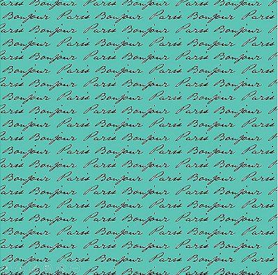 Tecido Tricoline Estampa Bonjour Paris (Fundo Tiffany) - 50cm x 150cm