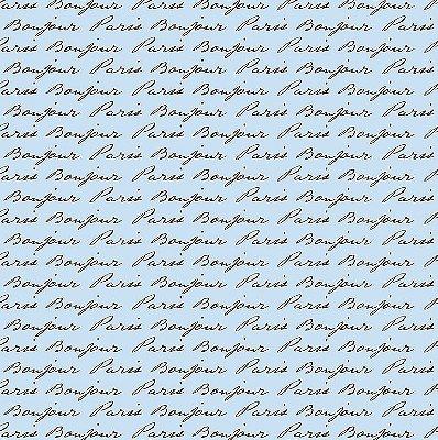 Tecido Tricoline Estampa Bonjour Paris (Fundo Azul) - Preço de 50cm x 150cm