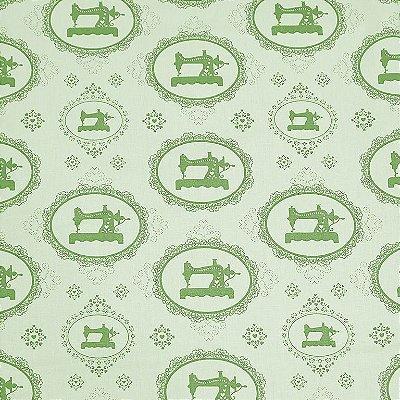 Tecido Tricoline Máquina Costura Vintage Verde - Coleção Costura - Corte Mínimo de 50 cm x 150cm