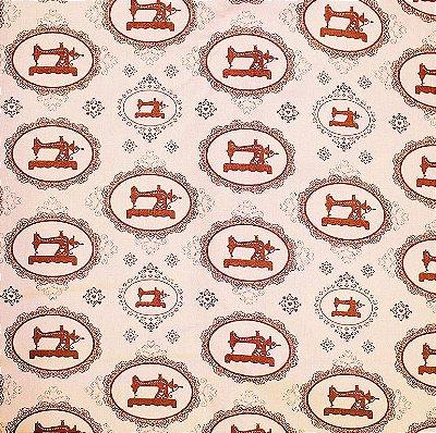Tecido Tricoline Máquina Costura Vintage Rose - Coleção Costura -Corte Mínimo de 50 cm x 150cm