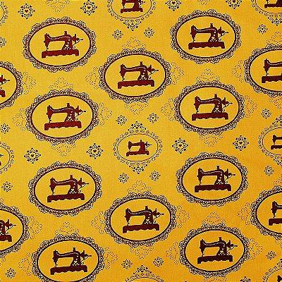Tecido Tricoline Máquina Costura Vintage Mostarda - Coleção Costura - Corte Mínimo de 50 cm x 150cm