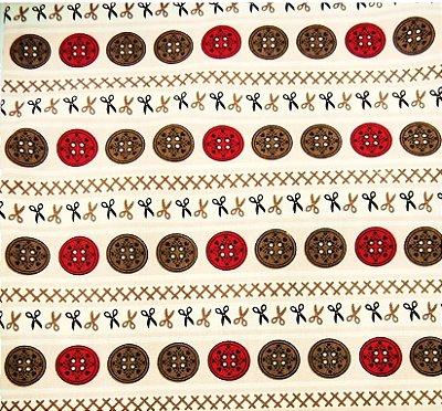Tecido Tricoline Faixa Rosa de Botões - Coleção Costura - Corte Mínimo de 50 cm x 150 cm
