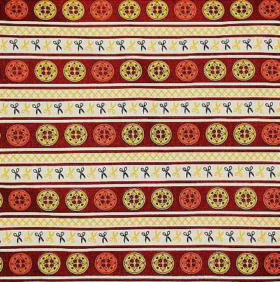 Tecido Tricoline Faixa Marrom de Botões - Coleção Costura - Corte Mínimo de 50 cm x 150 cm