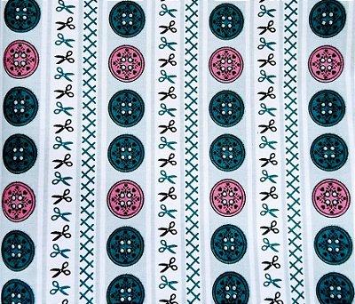 Tecido Tricoline Faixa Verde de Botões -  Coleção Costura - Corte Mínimo de 50 cm x 150 cm