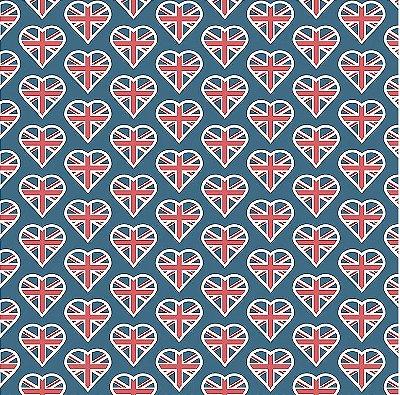 Tecido Tricoline Coração Londrino - Coleção Londres - Corte Mínimo de 50 cm x 150 cm