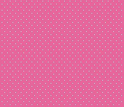 Tecido Tricoline  Estampa Micro Poá  Branco com Fundo Pink - 50 cm X 150 cm