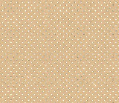 Tecido Tricoline  Estampa Micro Poá  Branco com Fundo Marrom Caqui - 50 cm X 150 cm