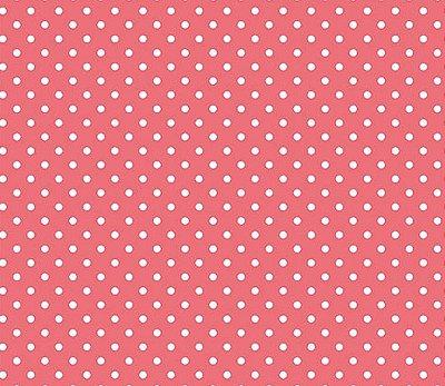 Tecido Tricoline  Estampa Micro Poá  Branco com Rosa Flamingo - 50 cm X 150 cm