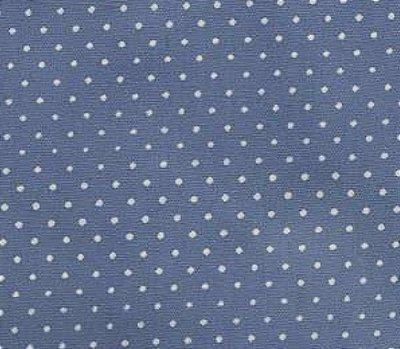 Tecido Tricoline  Estampa Micro Poá  Branco com Azul Jeans - 50 cm X 150 cm