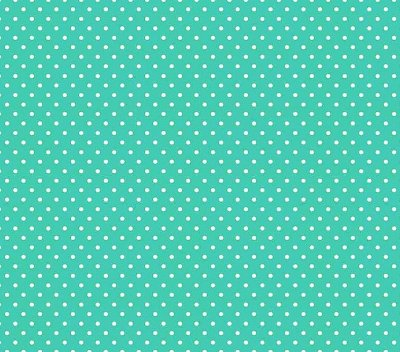 Tecido Tricoline  Estampa Micro Poá  Branco com Tiffany - 50 cm X 150 cm
