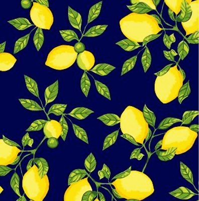 Tecido Tricoline - Coleção Limão Siciliano (Fundo Marinho) 50 cm x 150 cm