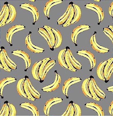 Tecido Tricoline - Coleção Banana Tropical (Fundo Cinza) - 50 cm x 150 cm