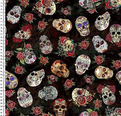 Tecido Digital Estampa de Caveira Mexicana - Fundo Preto - Preço de 50 cm x 150 cm