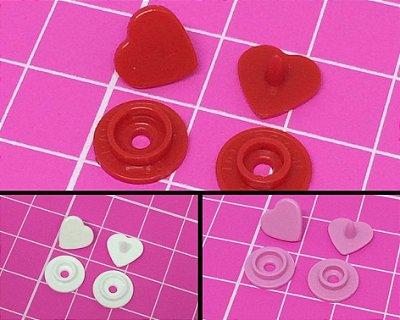 Botão de Pressão Plástico Ritas em Formato de Coração - Rosa, Vermelho ou Branco - 10mm - Pacote com 10 unidades