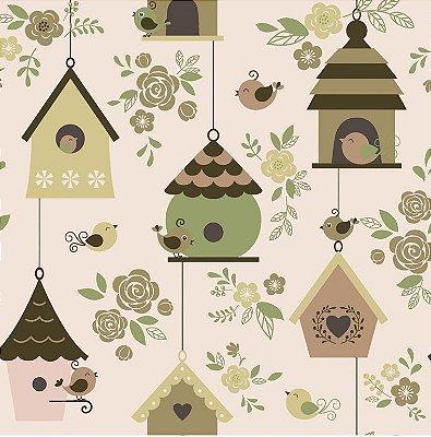 Tecido Tricoline  Casas de Passarinhos Amarelo Queimado - Coleção Som dos Pássaros - 50 cm X 150 cm