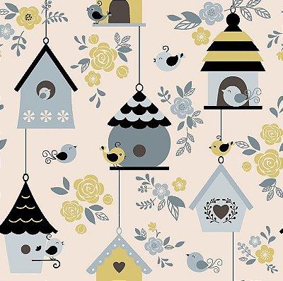 Tecido Tricoline Casas de Passarinhos Azul Fog - Coleção Som dos Pássaros - Preço de 50 cm X 150 cm
