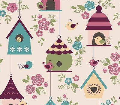 Tecido Tricoline Casas de Passarinhos Rosa - Coleção Som dos Pássaros - 50 cm X 150 cm