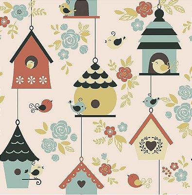 Tecido Tricoline Casas de Passarinhos Goiaba - Coleção Som dos Pássaros - 50 cm X 150 cm