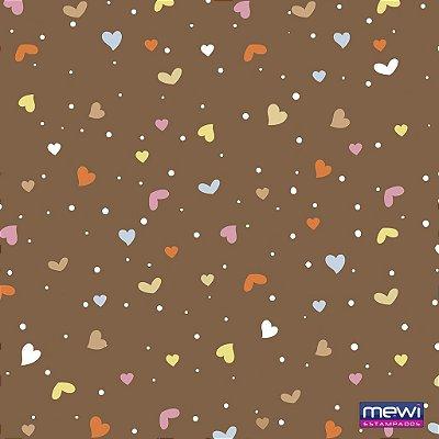 Feltro Estampado Coração e Confete - Fundo Marrom - Coleção Confete - Corte Mínimo de 50cm x 140cm