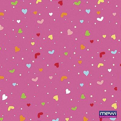 Feltro Estampado Coração e Confete - Fundo Rosa Pink - Coleção Confete - Corte Mínimo de 50cm x 140cm
