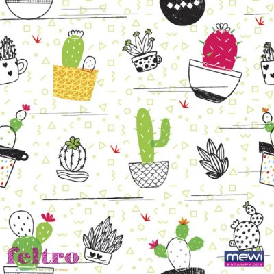 Feltro Estampado Cactus Tijuana - Coleção Novo México- Preço  de 50cm x 140cm