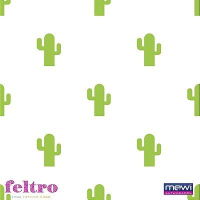 Feltro Estampado Cactus Verde - Coleção Novo México- Preço de 50cm x 140cm