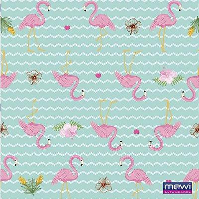 Feltro Estampado Flamingo - Fundo Tiffany - Coleção Flamingo - Corte Mínimo de 50cm x 140cm