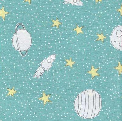 Tecido Tricoline Estampa de Planetas, Foguetes e Estrelas - Fundo Azul - Coleção Saturno - 50 cm x 150 cm