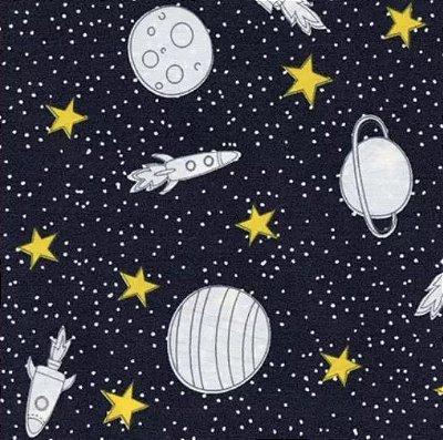 Tecido Tricoline Estampa de Planetas, Foguetes e Estrelas - Fundo Preto - Coleção Saturno - 50 cm x 150 cm