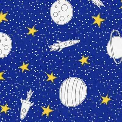 Tecido Tricoline Estampa de Planetas, Foguetes e Estrelas - Fundo Azul Royal - Coleção Saturno - 50 cm x 150 cm
