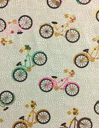 Tecido Tricoline Bicicletas Coloridas - Fundo Bege - Preço de 50 cm X 150 cm