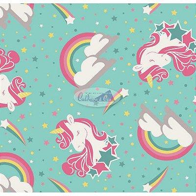 Tecido Tricoline Infantil do Unicórnio (Fundo Tiffany) - Coleção Sweet Dreams - Preço de 50 cm X 150 cm