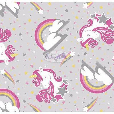 Tecido Tricoline Infantil do Unicórnio (Fundo Cinza) - Coleção Sweet Dreams - Corte Mínimo 50 cm X 150 cm