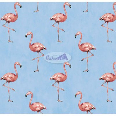 Tecido Tricoline com Estampa de Flamingo (Fundo Azul ) - Coleção Sweet Dreams - Corte Mínimo 50 cm X 150 cm