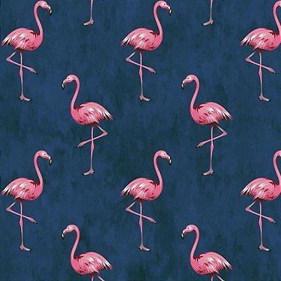 Tecido Tricoline com Estampa de Flamingo (Fundo Azul Marinho) - Coleção Sweet Dreams - Preço de 50 cm X 150 cm
