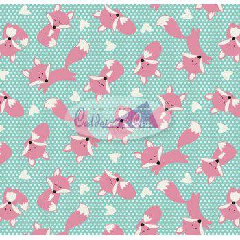 Tecido Tricoline  Estampa de Raposa Rosa (Fundo Tiffany com Poá Branco) - 50 cm X 150 cm