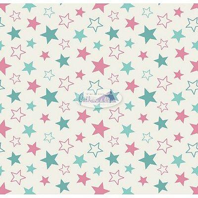 Tecido Tricoline Estampa Estrelinhas Rosa e Tiffany - Fundo Creme- 50 cm x 150 cm