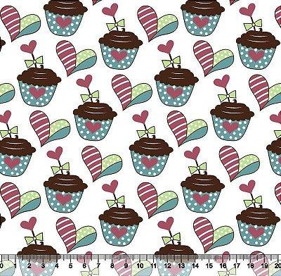 Tecido Tricoline Cupcake e Coração  (Fundo Branco) - 50 cm x 150 cm