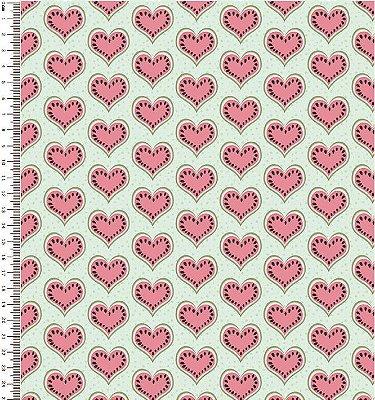 Tecido Tricoline Estampa Coração Rosa - Fundo Tiffany - Corte Mínimo de 50 cm x 150 cm
