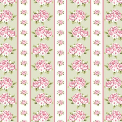 Tecido Tricoline Estampado Listrado de Rosas - Fundo Verde - Coleção Shabby Chic Anita Catita - 50cm x 150cm