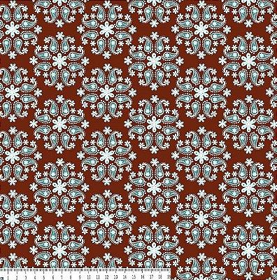 Tecido Tricoline Flor de Cashmere Jade - Fundo Marrom - Coleção Mundo Cashmere - Preço de 50 cm X 150 cm