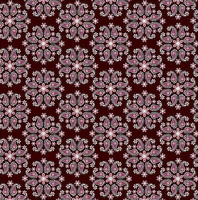Tecido Tricoline Flor de Cashmere Marsala - Fundo Vinho - Coleção Mundo Cashmere - 50 cm X 150 cm
