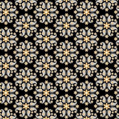 Tecido Tricoline Flor de Cashmere Mostarda - Fundo Preto - Coleção Mundo Cashmere - 50 cm X 150 cm